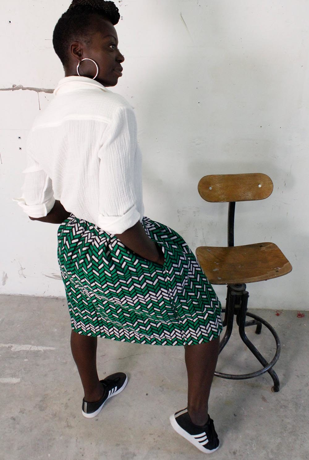 Jupe Nomade honorine Imprimé vert et noir