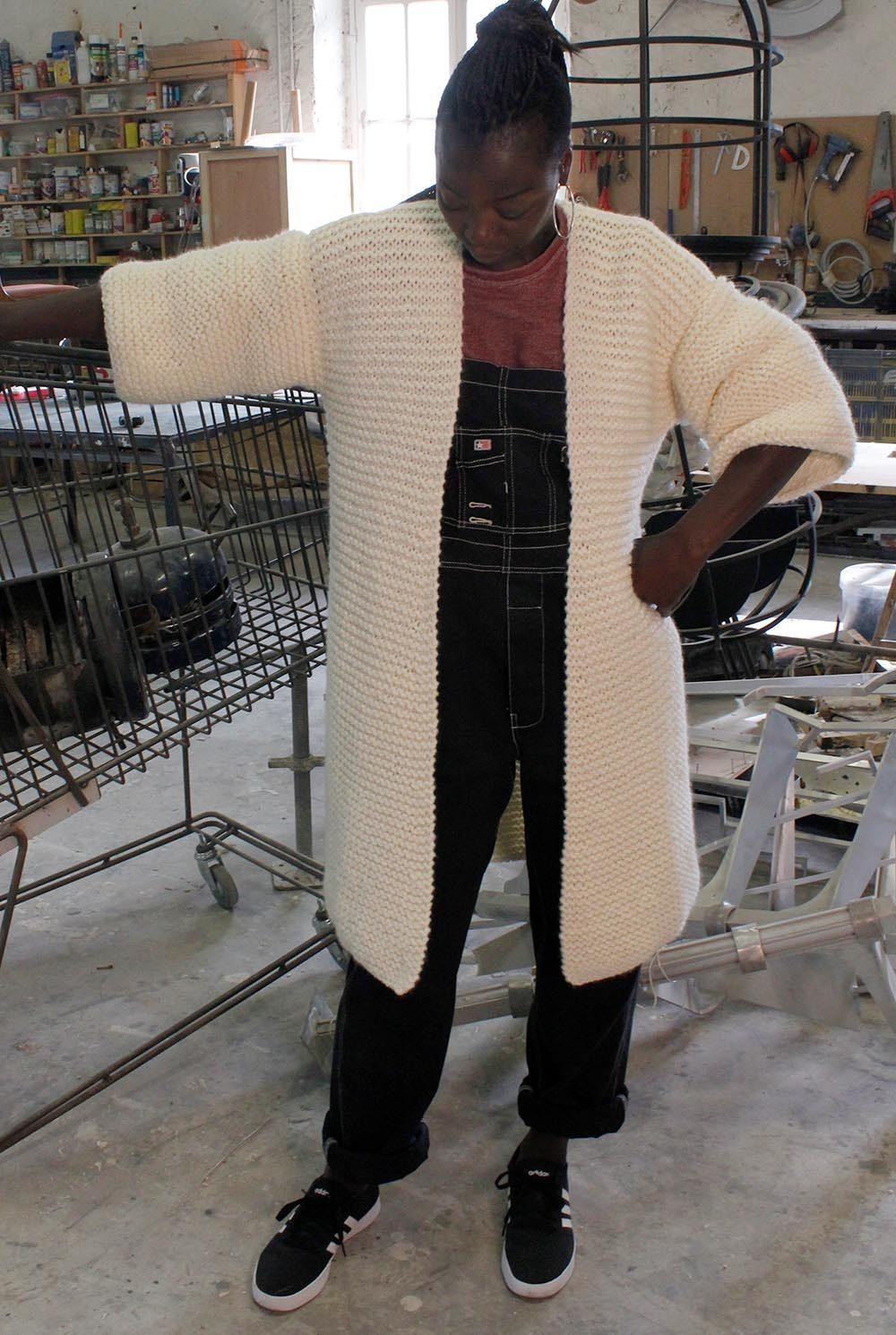 Veste honorine en laine mérinos, écru