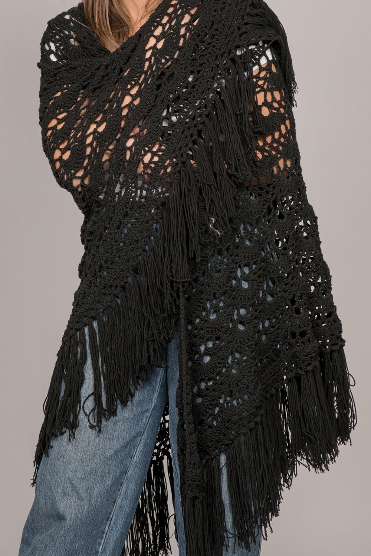 Châles honorine noir franges